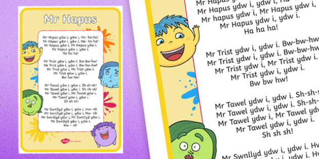 Mr Happy Welsh Second Language Song Lyrics - Welsh