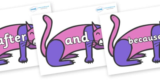 Connectives on Purple Cat to Support Teaching on Brown Bear, Brown Bear - Connectives, VCOP, connective resources, connectives display words, connective displays