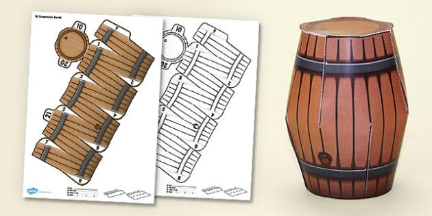 3D Display Gunpowder Barrel Model - 3d, display, gunpowder plot, barrel, gunpowder barrel, model, craft, paper