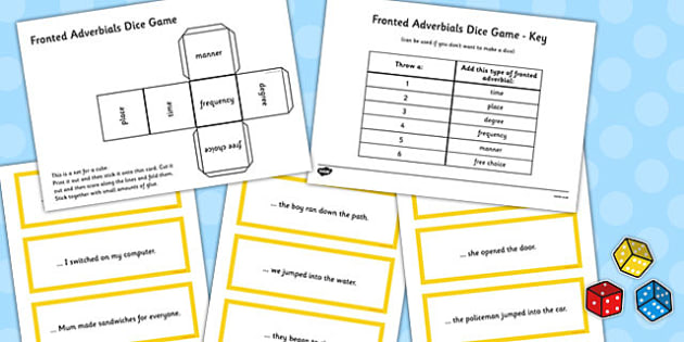 Fronted Adverbials Dice Game Pack - fronted, adverbials, dice game