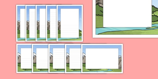 Mountain High, River Deep Themed Page Borders - mountain high, river deep, page borders, page, borders