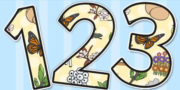 Spring Themed A4 Display Numbers - spring, display, numbers