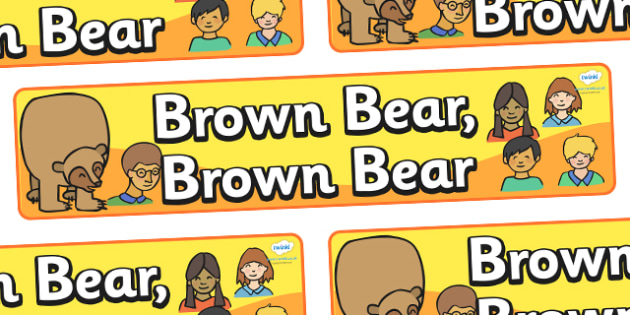 Display Banner to Support Teaching on Brown Bear, Brown Bear - Brown Bear, Brown Bear, Bill Martin,  red bird, yellow duck, blue horse, green frog, purple cat, colours, animals, animal names, story, story book, story book resources, story sequencing,