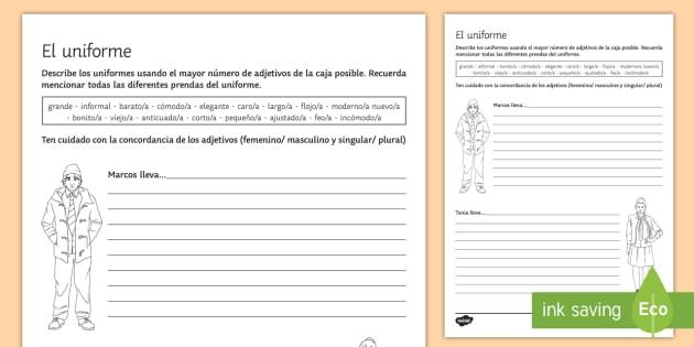 Describe the Uniform Writing Activity Sheet Spanish - Spanish, Vocabulary, uniform, worksheets, describe