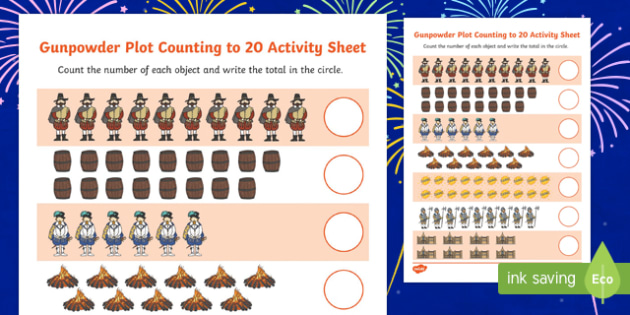 Gunpowder Plot Counting to 20 Activity Sheet, worksheet