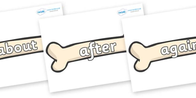 KS1 Keywords on Bones - KS1, CLL, Communication language and literacy, Display, Key words, high frequency words, foundation stage literacy, DfES Letters and Sounds, Letters and Sounds, spelling