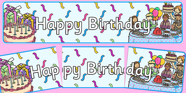 Birthday Display Banner - Display banner, birthday, birthday poster, birthday display, months of the year, cake, balloons, happy birthday