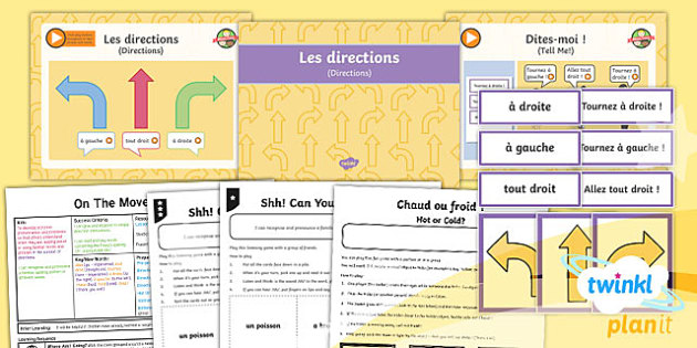 PlanIt - French Year 4 - On the Move Lesson 3: Directions Lesson Pack - french, languages, direction, movement, position