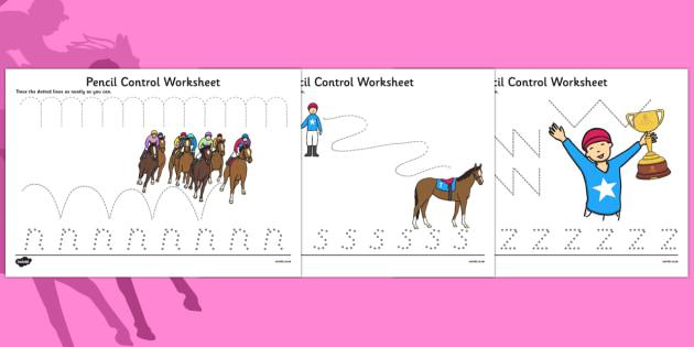 Melbourne Cup Pencil Control worksheets - australia, melbourne cup, pencil control, worksheets