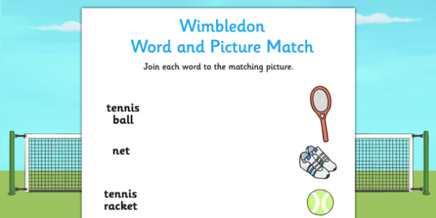 Wimbledon Word and Picture Matching Worksheet - tennis, sport, pe
