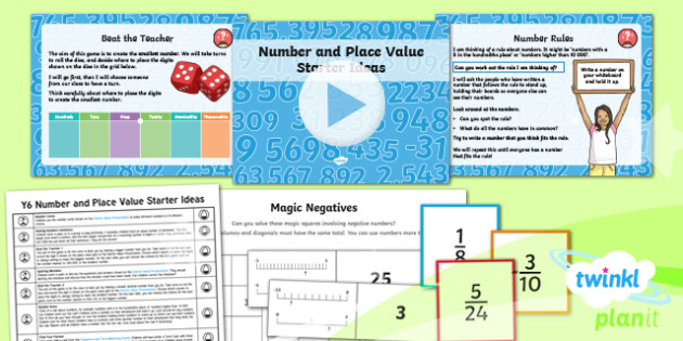PlanIt Y6 Number and Place Value Starter Ideas Pack - Number and Place Value, starter ideas,