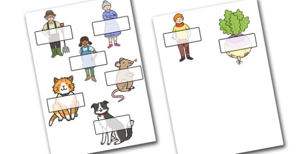Editable Self Registration Labels (Enormous Turnip) - Self registration, Enormous Turnip, register, editable, labels, registration, child name label, printable, Traditional tales, tale, fairy tale, little old man, little old woman, seed, cat, dog, mo