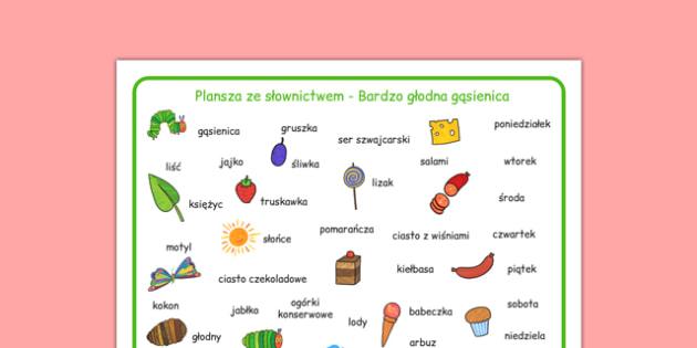Plansza ze słownictwem Bardzo głodna gąsienica po polsku