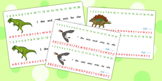 Realistic Dinosaurs Combined Number and Alphabet Strips - numbers