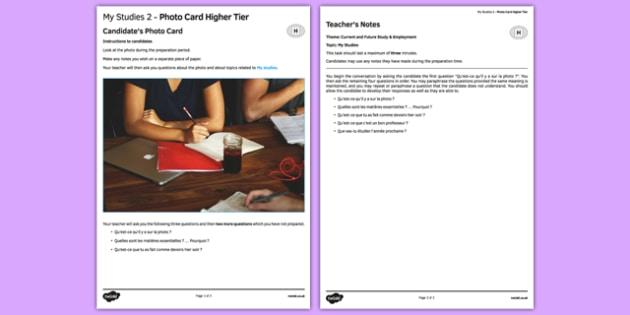 Mes études 2 Carte photo Higher Tier - Studies, étude, education, éducation, photo, picture, card, foundation, french, france, francais, gcse, practice