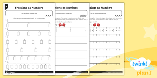 PlanIt Y3 Fractions Recognise and Use Fractions as Numbers Home Learning - Fractions, homework, number line, number sequence, sequence, fraction number line, fraction sequence, counting in fractions