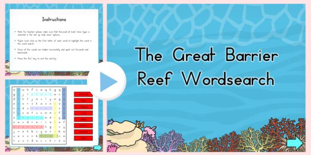 Great Barrier Reef Interactive Wordsearch - australia, barrier