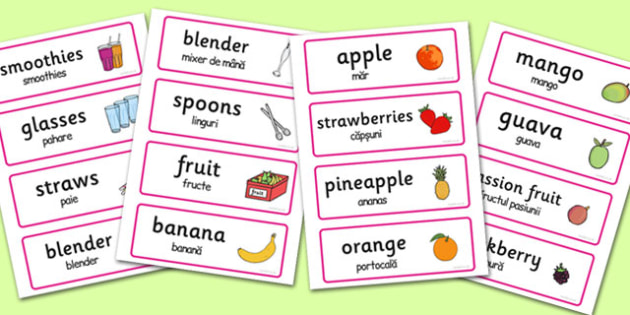 Smoothie Bar Role-Play Word Cards Romanian Translation - romanian