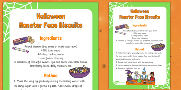 Halloween Monster Face Biscuits Recipe - halloween, monster face, biscuits, recipe