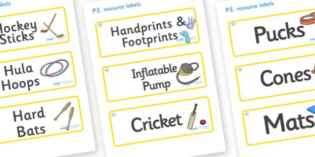 Diamond Themed Editable PE Resource Labels - Themed PE label, PE equipment, PE, physical education, PE cupboard, PE, physical development, quoits, cones, bats, balls, Resource Label, Editable Labels, KS1 Labels, Foundation Labels, Foundation Stage La