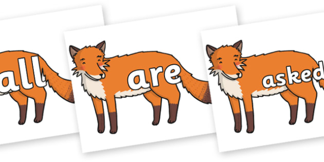Tricky Words on Gingerbread Man Fox - Tricky words, DfES Letters and Sounds, Letters and sounds, display, words