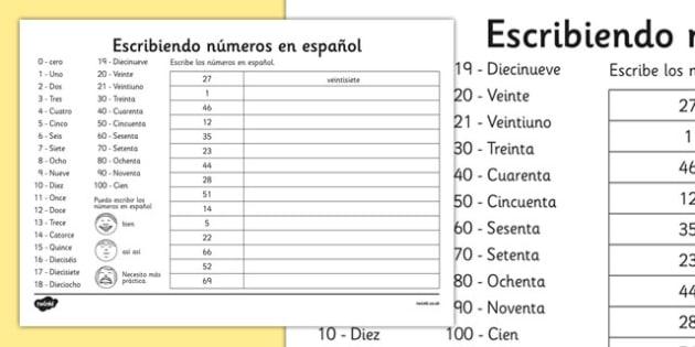 Writing Spanish Numbers Worksheet - spanish, languages, EAL, writing, numbers, worksheet