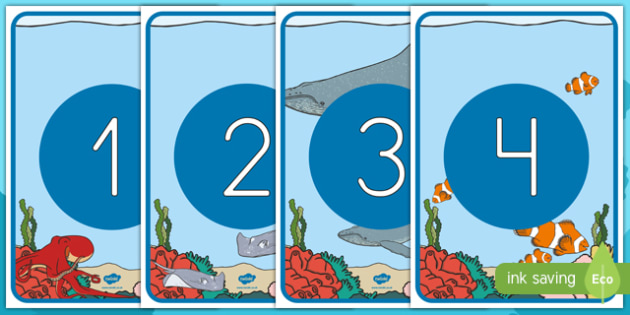 Bajo el mar números de exposición-Spanish