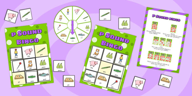 p Sound Bingo Game with Spinner - p sound, sound, sounds, bingo
