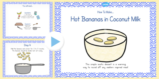 Hot Bananas in Coconut Milk Recipe PowerPoint - australia, recipe