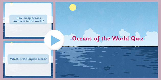 Oceans of the World PowerPoint Quiz - oceans of the world, oceans, world, powerpoint, quiz