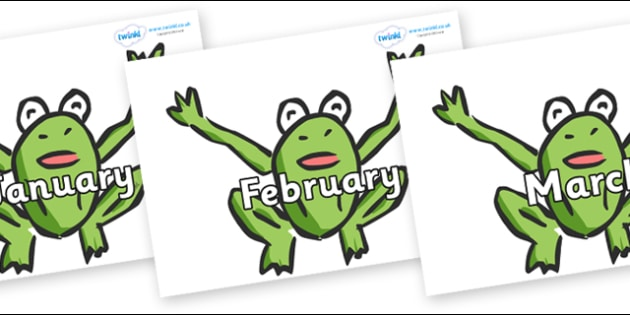Months of the Year on Frogs - Months of the Year, Months poster, Months display, display, poster, frieze, Months, month, January, February, March, April, May, June, July, August, September