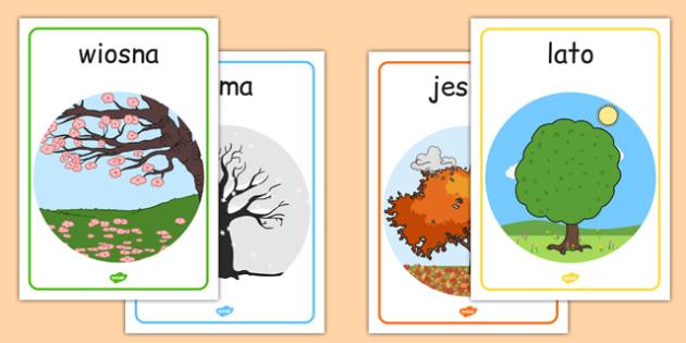 Cztery pory roku na A4 po polsku - lato, zima, jesień, wiosna