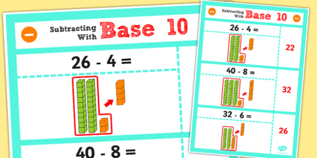 Year 2 Subtract 2 Digit Numbers and Tens Using Base 10 Poster