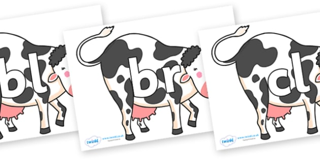 Initial Letter Blends on Bullabaloo Cow to Support Teaching on Farmyard Hullabaloo - Initial Letters, initial letter, letter blend, letter blends, consonant, consonants, digraph, trigraph, literacy, alphabet, letters, foundation stage literacy