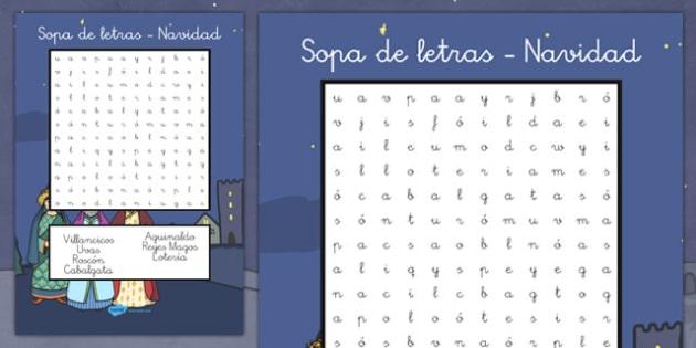 Sopa de letras - Navidad - meses, invierno, mural, estaciones, reyes, fiestas, vocabulario