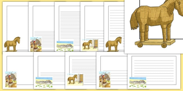 The Trojan Horse Page Borders - the trojan horse, page borders, borders, trojan, horse, history