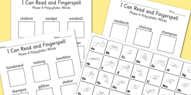 I Can Read and Fingerspell Phase 4 Polysyllabic Words Activity, worksheet