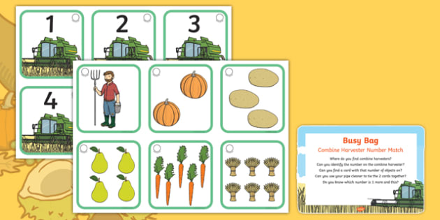 Combine Harvester Number Match Busy Bag Prompt Card and Resource Pack