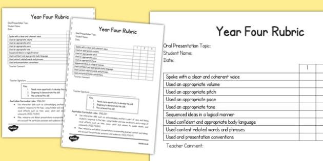 Oral Presentation Rubric Year Four - australia, oral, presentation, rubric, year four