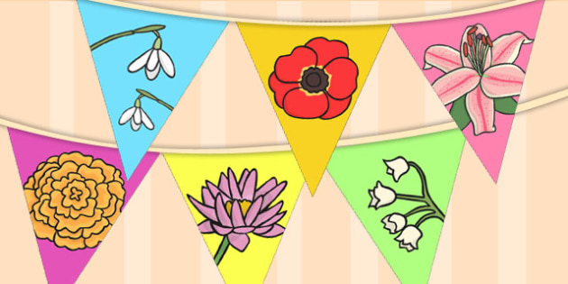 Flower Display Bunting - flower bunting, flowers, flower display, bunting, display bunting, garden centre role play, flower breeds, types of flowers