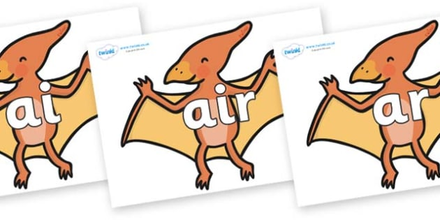 Phase 3 Phonemes on Pterodactyl Dinosaurs - Phonemes, phoneme, Phase 3, Phase three, Foundation, Literacy, Letters and Sounds, DfES, display