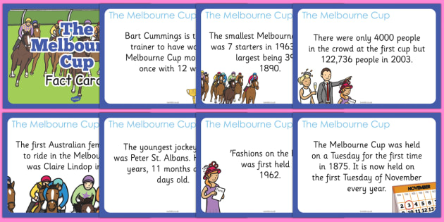 The Melbourne Cup Display Fact Cards - australia, melbourne cup, display, fact cards