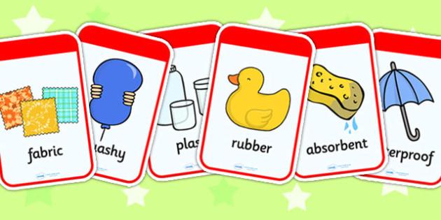 Materials Flashcards - materials, material, flashcard, visual aid