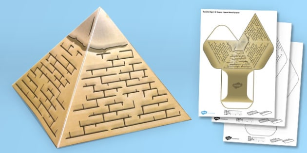 Real Life Object 3D Shape Net Square Based Pyramid - craft, shape