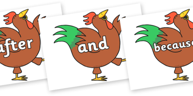 Connectives on Hullabaloo Rooster to Support Teaching on Farmyard Hullabaloo - Connectives, VCOP, connective resources, connectives display words, connective displays