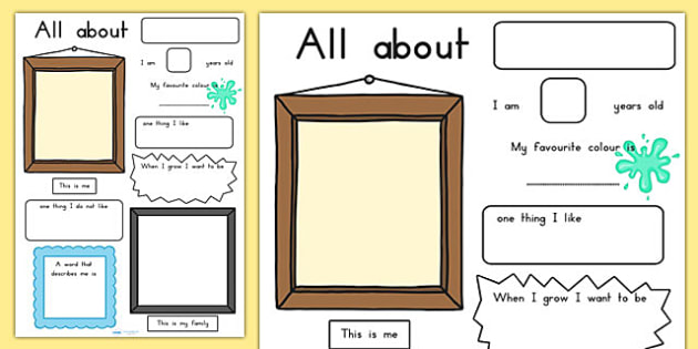 All About Me Poster - ourselves, myself, me, feelings, emotions
