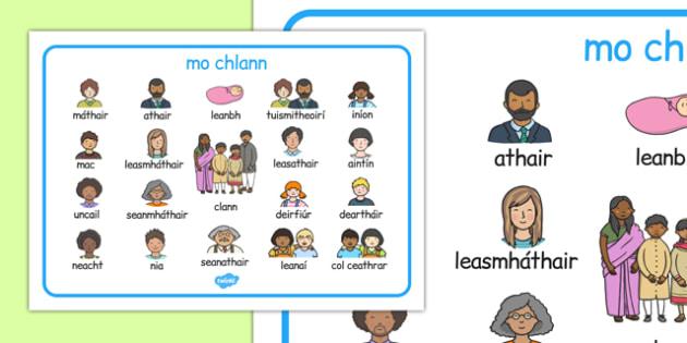mo chlann Word Mat Gaeilge - gaeilge, family, word mat, word, mat, language