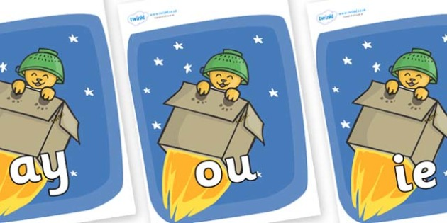 Phase 5 Phonemes on Rockets (Whatever Next) to Support Teaching on Whatever Next! - Phonemes, phoneme, Phase 5, Phase five, Foundation, Literacy, Letters and Sounds, DfES, display