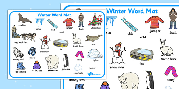 Winter Word Mat - Winter, word mat, writing aid, topic words, skis, ice skates, polar bear, whale, penguin, huskey, snow, winter, frost, cold, ice, hat, gloves