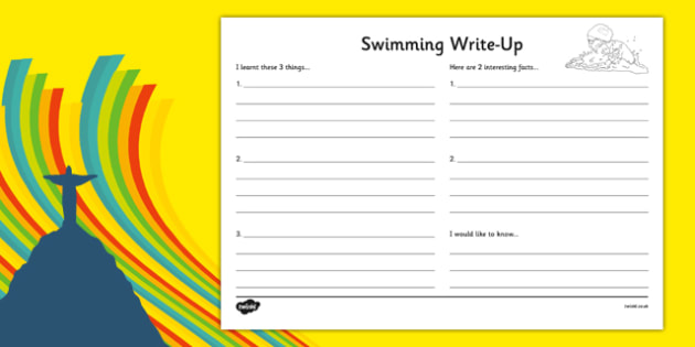 The Olympics Swimming Write Up Worksheet - Rio, swim, events, Olympic, literacy, writing, writing frame